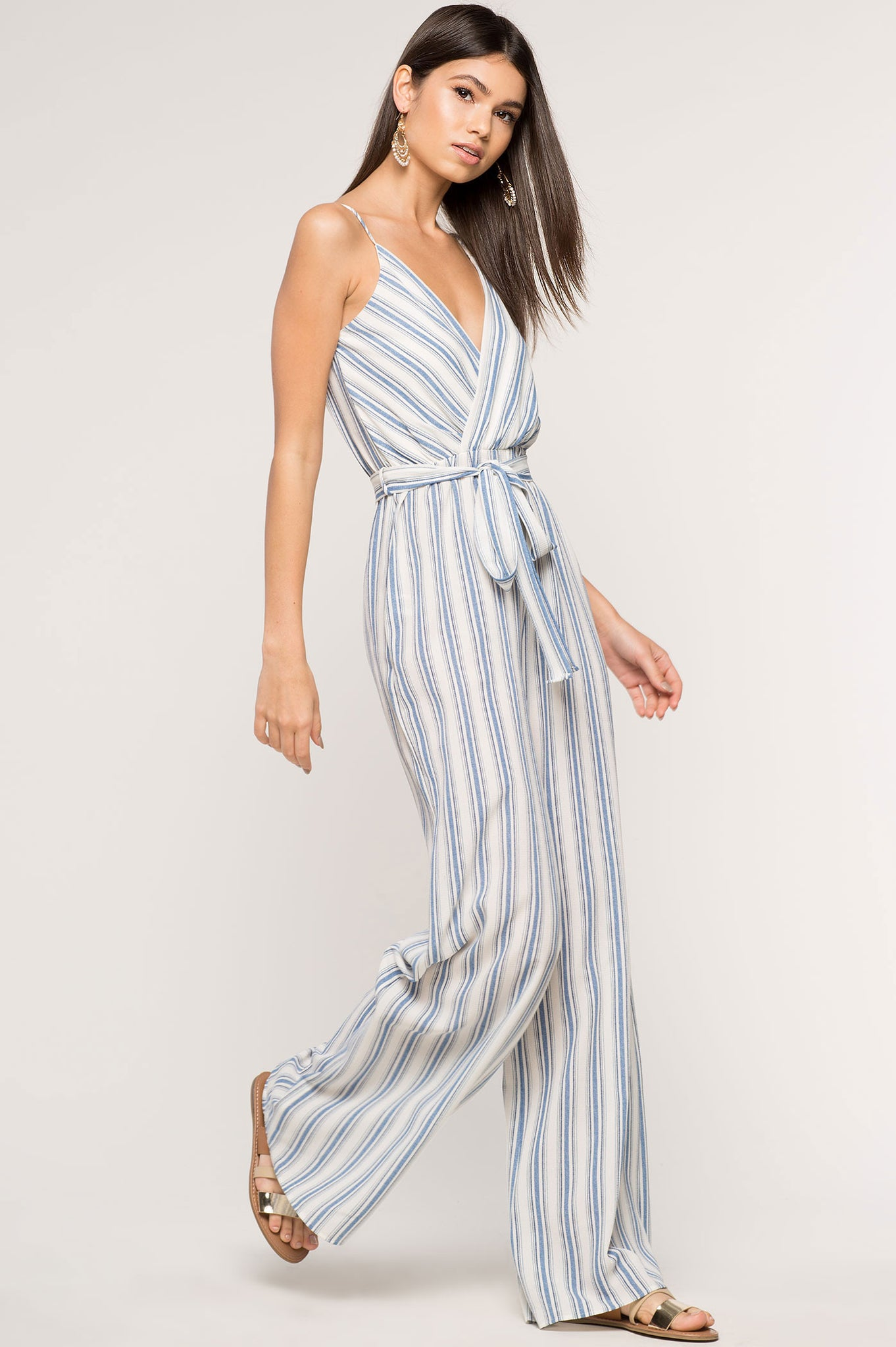 Womens blue and white stripe surplice belted casual jumpsuit with palazzo wide legs