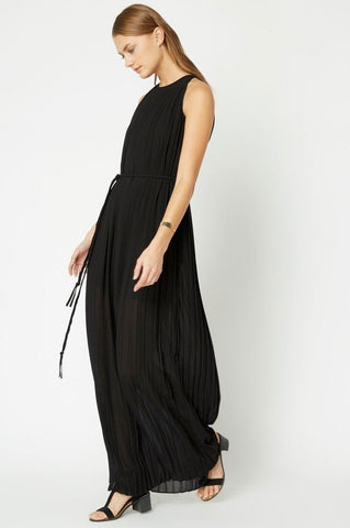 Women's sleeveless plisse pleated black maxi dress with belt for going out. LBD