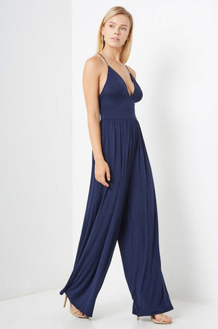 Women's sleeveless deep v-neck casual jersey wide leg palazzo jumpsuit in navy blue
