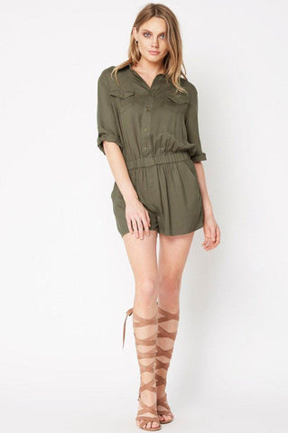 Women's short sleeve button down front cargo utility aviator romper. Olive green