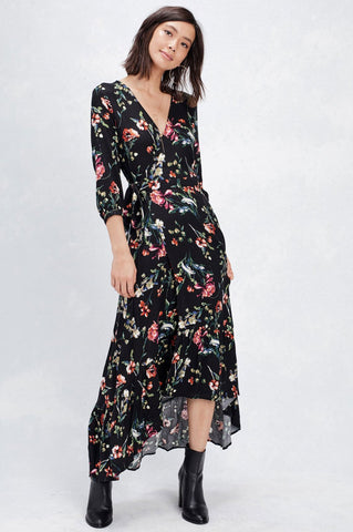 women's 3/4 sleeve black floral print full wrap maxi dress