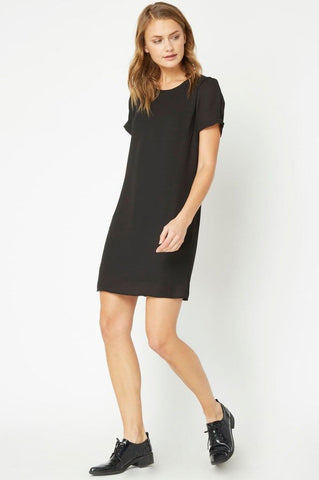 women's black short sleeve casual mini shift dress. LBD