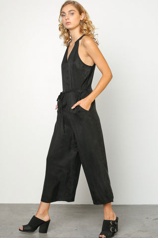 women's sleeveless black button front wide leg culotte dressy or casual jumpsuit.
