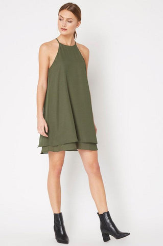 women's sleeveless halterneck olive green mini swing dress with layers.