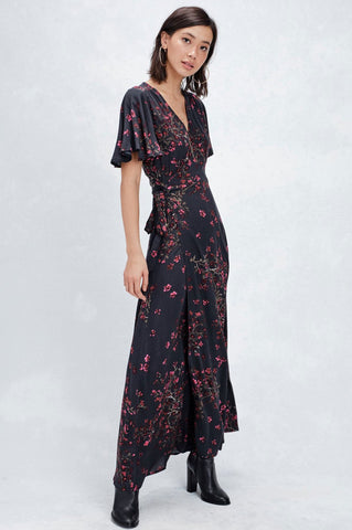 womens black short flutter sleeve floral print wrap maxi dress for going out.