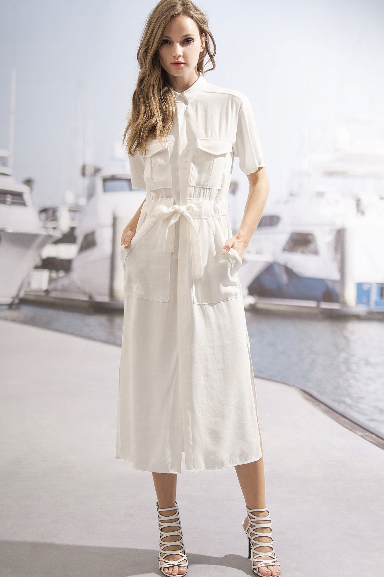 Women's white short sleeve button down front drawstring shirt dress midi casual