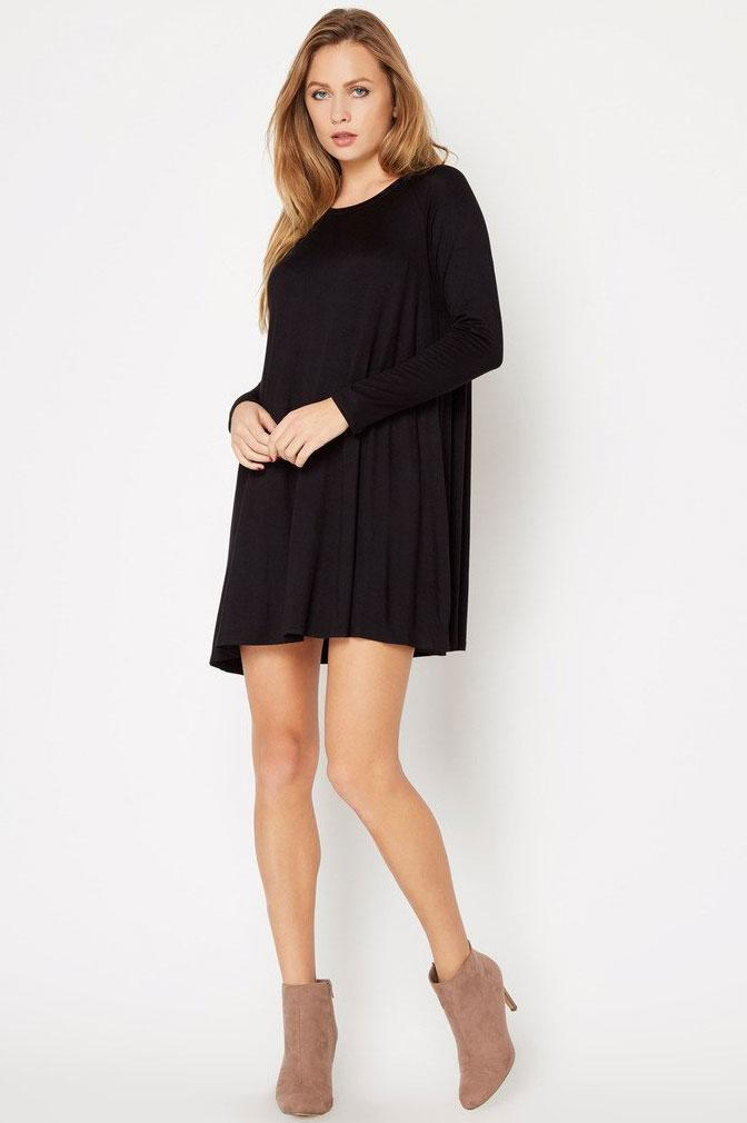 women's black raglan long sleeve mini swing basic jersey t-shirt dress. LBD