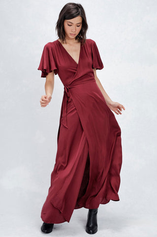 Women's short flutter sleeve burgundy wine long wrap maxi dress for going out