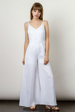 Women's Sleeveless v-neck wide leg casual linen jumpsuit. Summer vacation outfit. Santorini white.