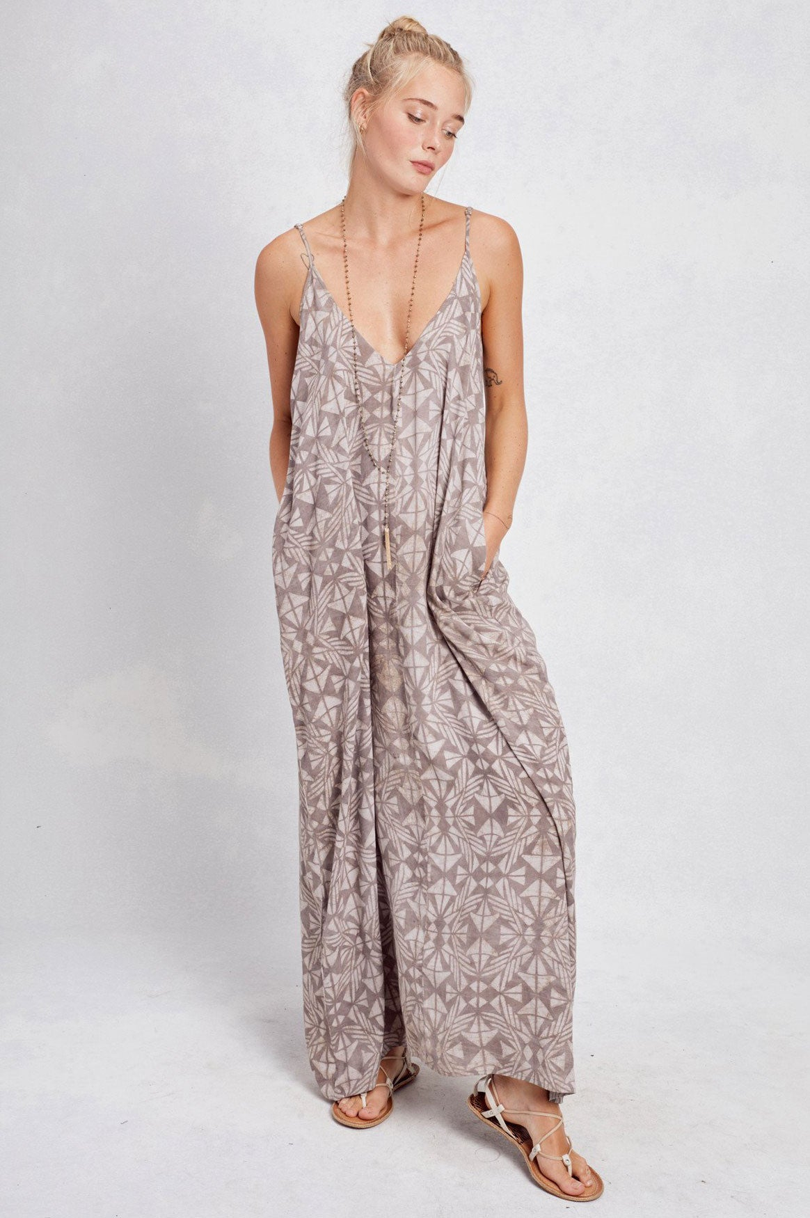 Women's printed  sleeveless casual maxi dress