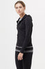 Buy yoga pilates activewear clothes for women: black long sleeve zipper front jacket with hoodie.