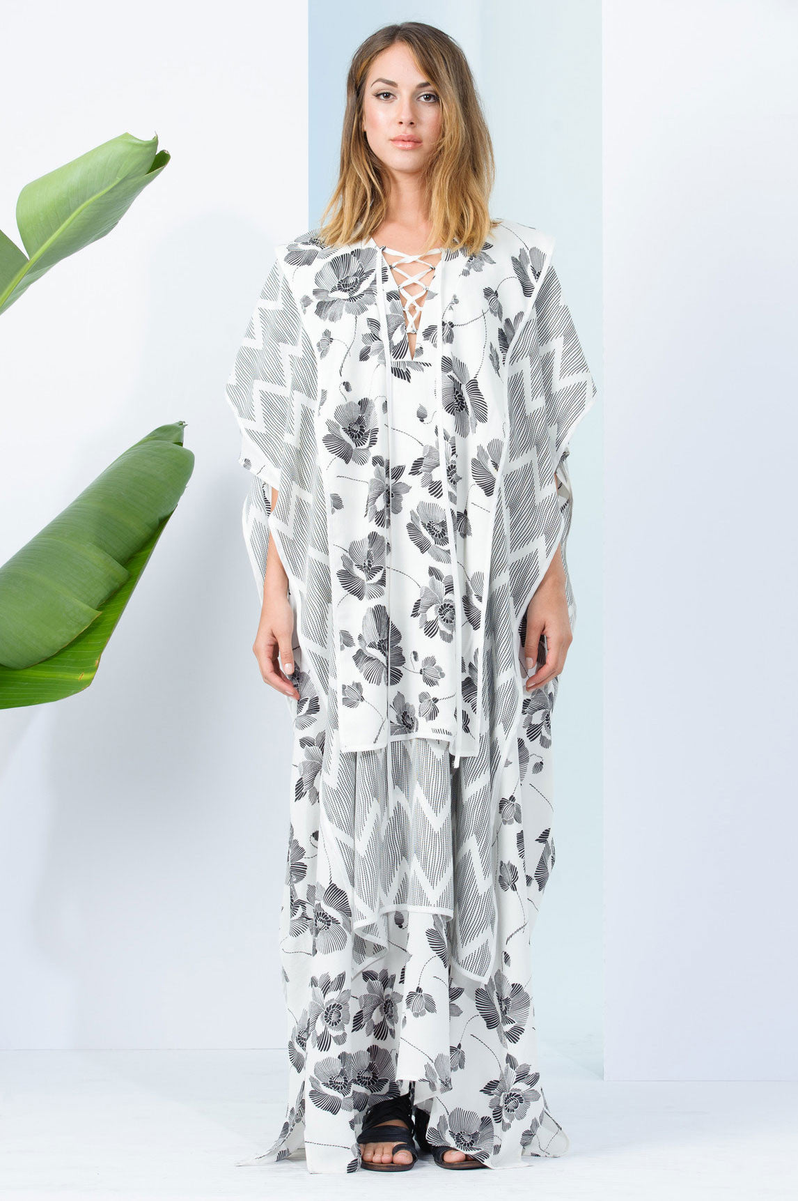 Black and white print, lace up long caftan dress. Front view