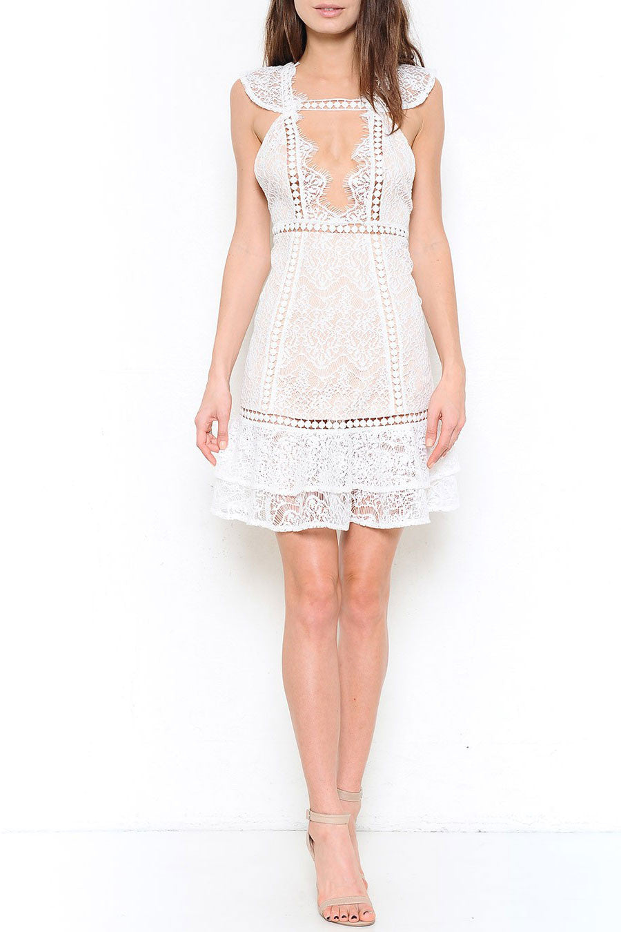 Women's mini, venetian lace casual wedding dress: Guipure capped sleeve little white lace dress. Front view