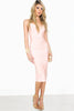 Nude Pink sleeveless deep plunging neckline midi bandage dress. Front view