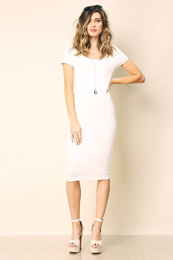 Street style ivory white short sleeve basic bodycon midi jersey casual day dress. Front view