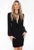 Bishop Sleeves, long sleeve, lbd, little black dress with plunging v neckline. Bodycon, ruched front.