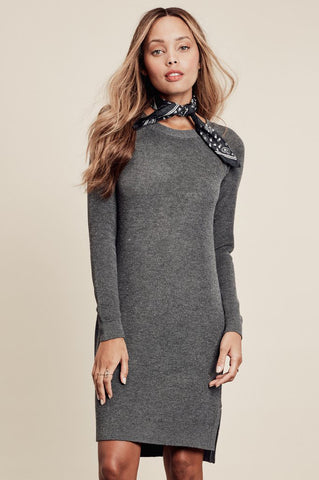 women's cashmere blend long sleeve knee length sweater dress in charcoal grey. Front view.