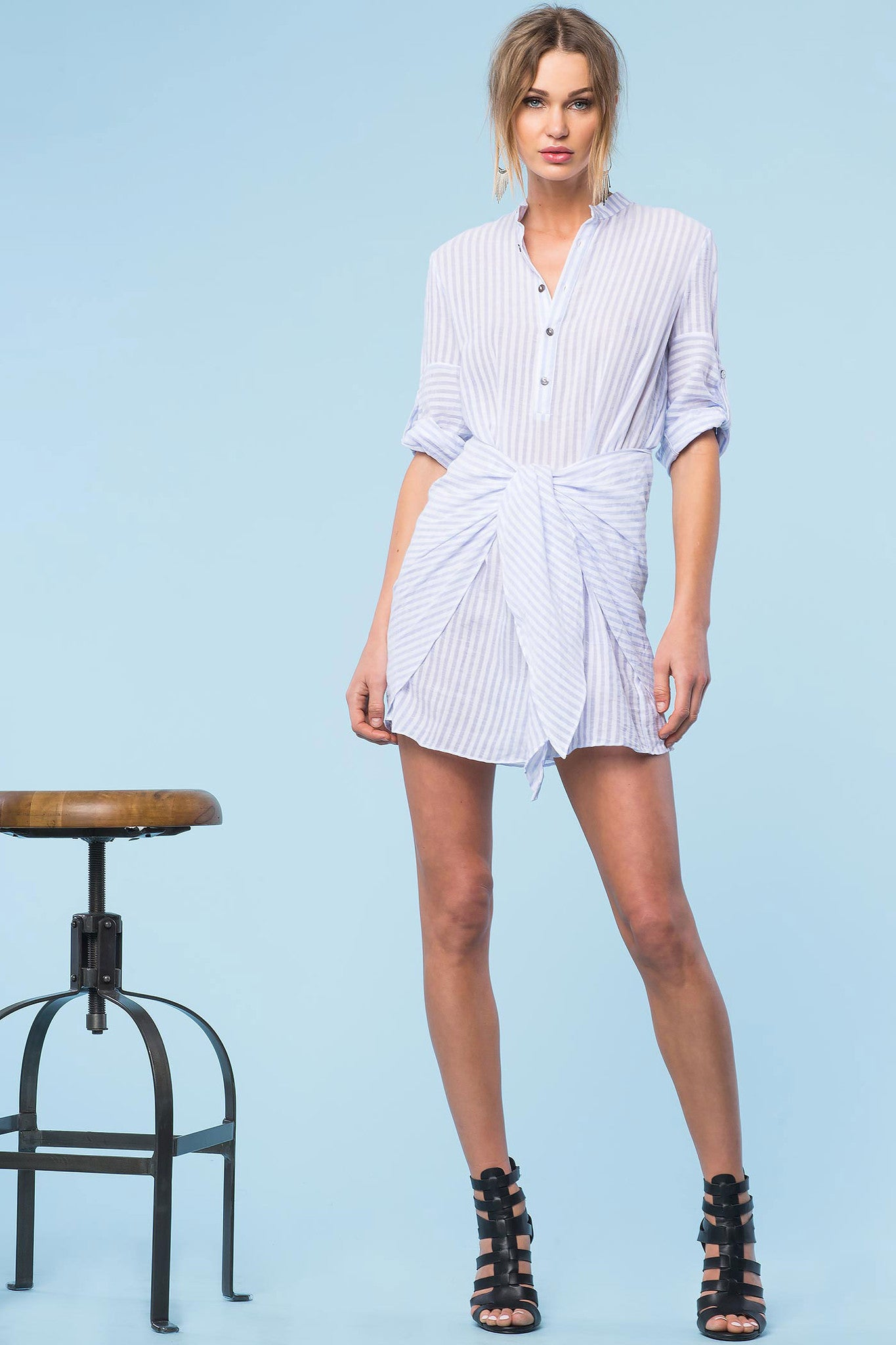 Womens Casual street style oufit ideas: City pinstripe mini shirt dress with blue and white stripes. Front view