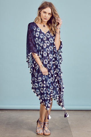 womens cleobella blue and white print kaftan dress with tassel trim detail for coverup.