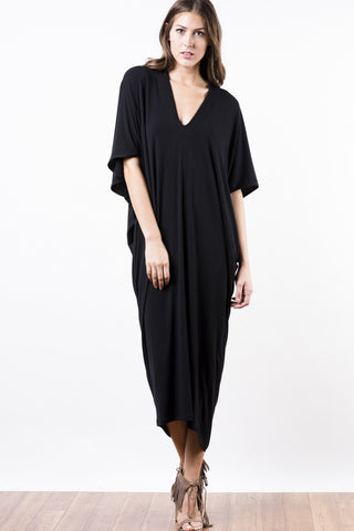 Casual Street Style black short sleeve loose fit jersey maxi dress