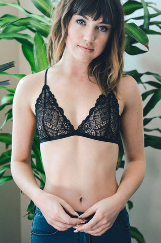 Women's triangle black lace bralette v-neck, no padding, sheer see through, no underwire. Cut black lace bralette.