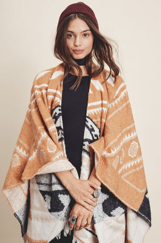 Women's waterfall cardigan for cute fall outfits. Poncho, wrap draped cardigan. Tribal print