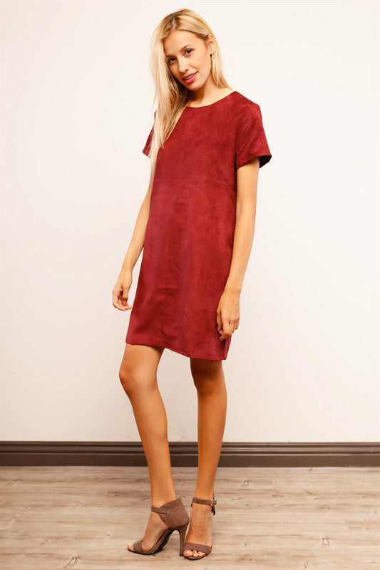 Darra-faux-suede-dress-tunic-shift-michael-stars-netaporter-blue-life-Revolve-clothing-Macys-BCBG-Nordstrom-Stone-Cold-Fox-Free-People-lyst-Asos-coupon-discount-promo-code-codes-Shopbop-Topshop-Zara-red front view