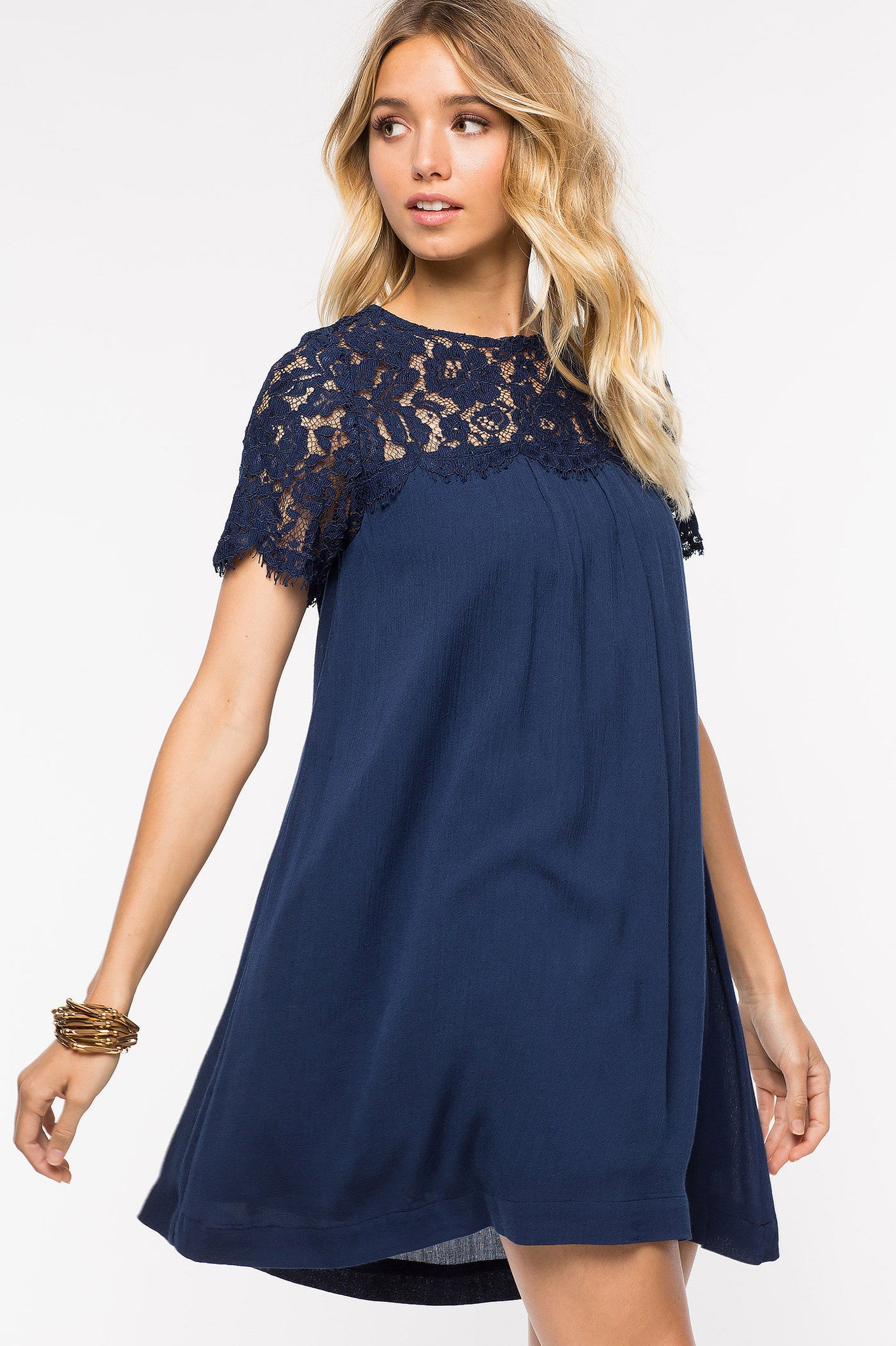 Womens outfit ideas: De Lacey short sleeve lace panel mini shift dress in navy blue. Front view.