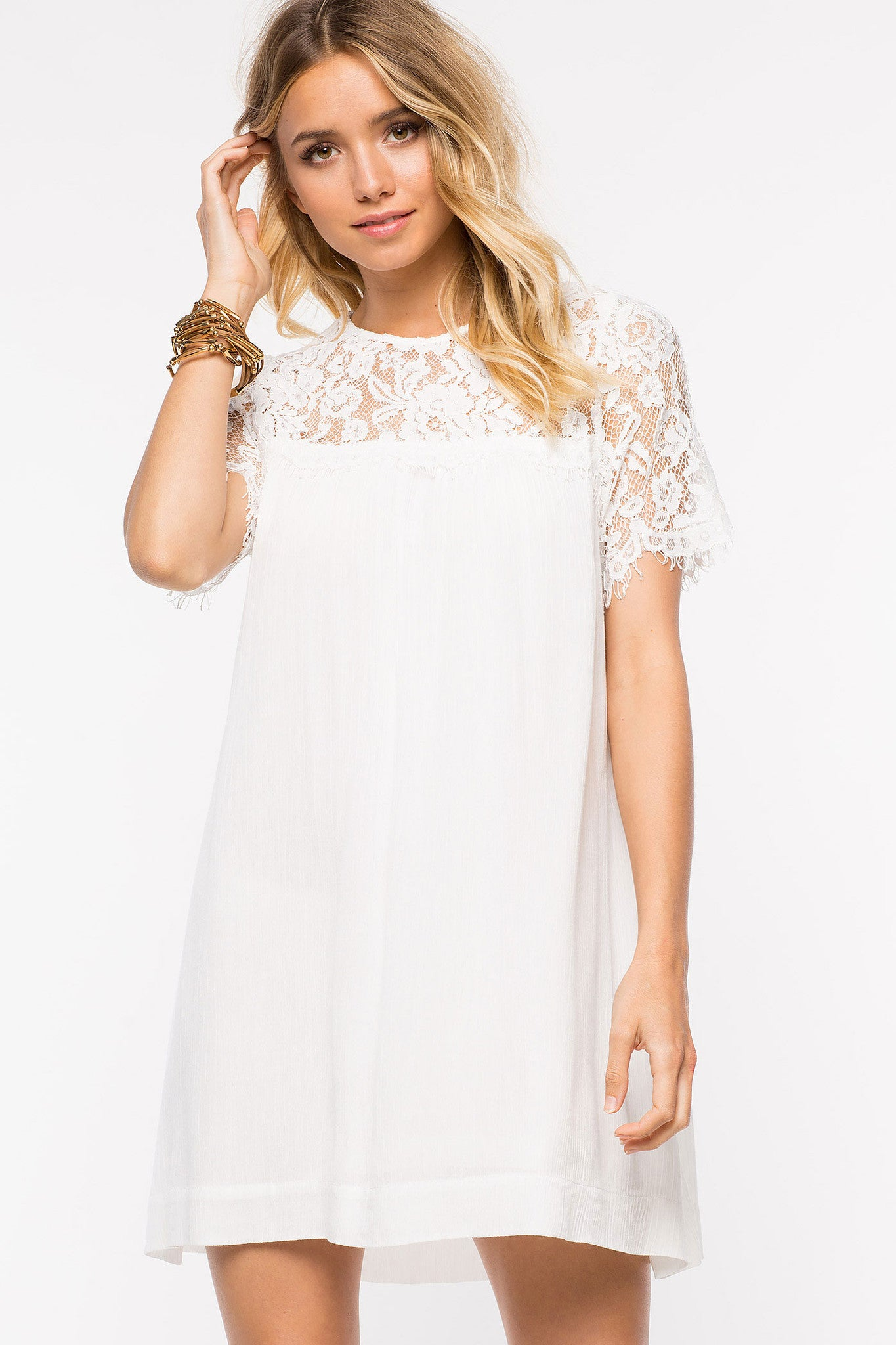 short sleeve white lace mini shift party dress. Front view