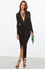Long sleeve, black, draped party dress. Plunging deep v-neckline LBD. Front view