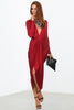 long sleeve deep plunging neckline drape cocktail party dress in burgundy front view
