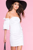 Womens street style casual outfit ideas: White off the shoulder bodycon mini party dress. Back view.
