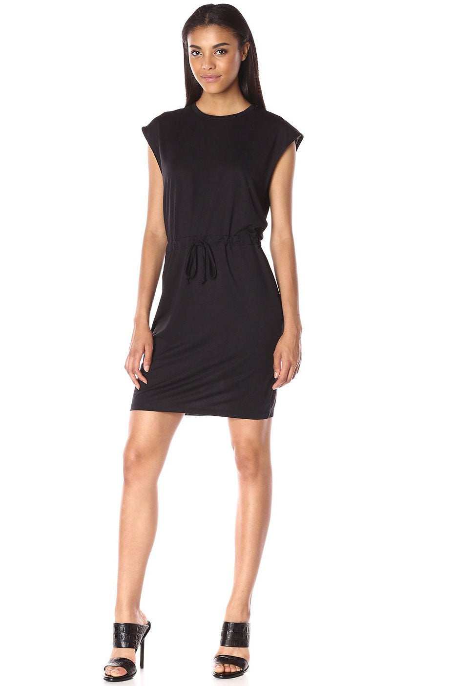 Womens casual street style oufit idea: Sleeveless drawstring casual black mini dress. Front view.