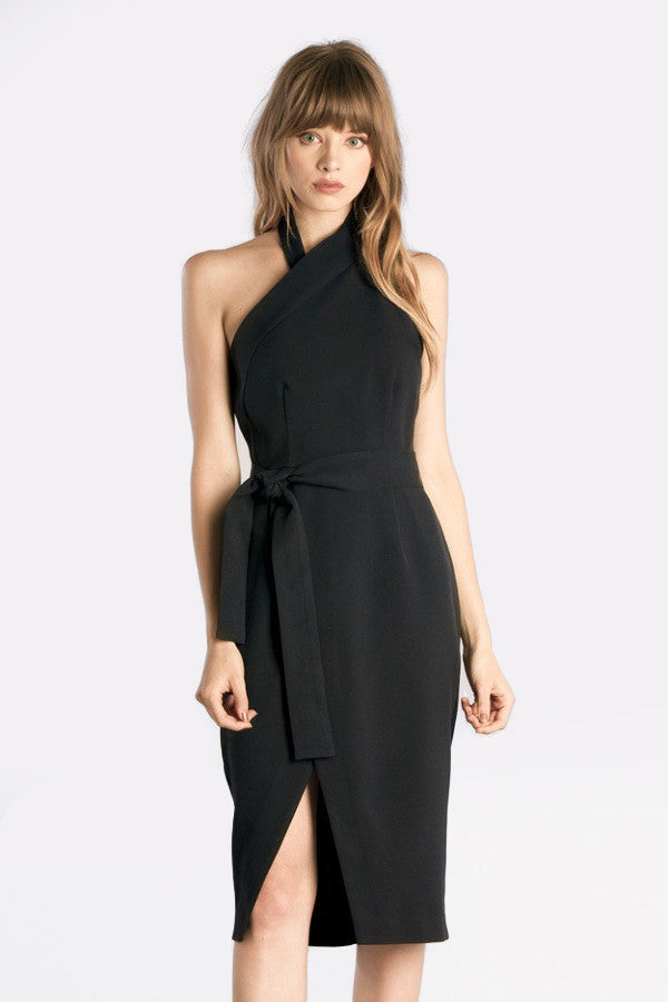 Womens party outfit idea: Sleeveless Halter Neck Belted Midi Sheath Cocktail Party Dress in black. Front view