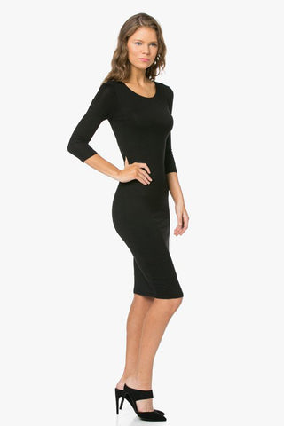 Enza 3/4 sleeve black jersey midi dress