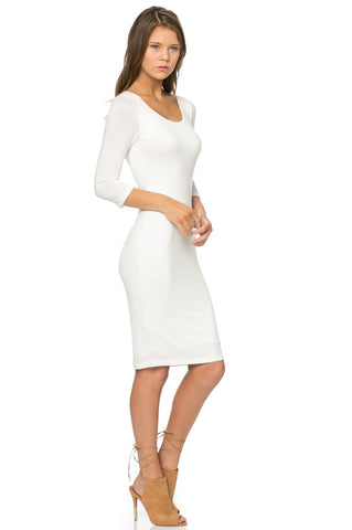 street style white long sleeve bodycon midi jersey dress