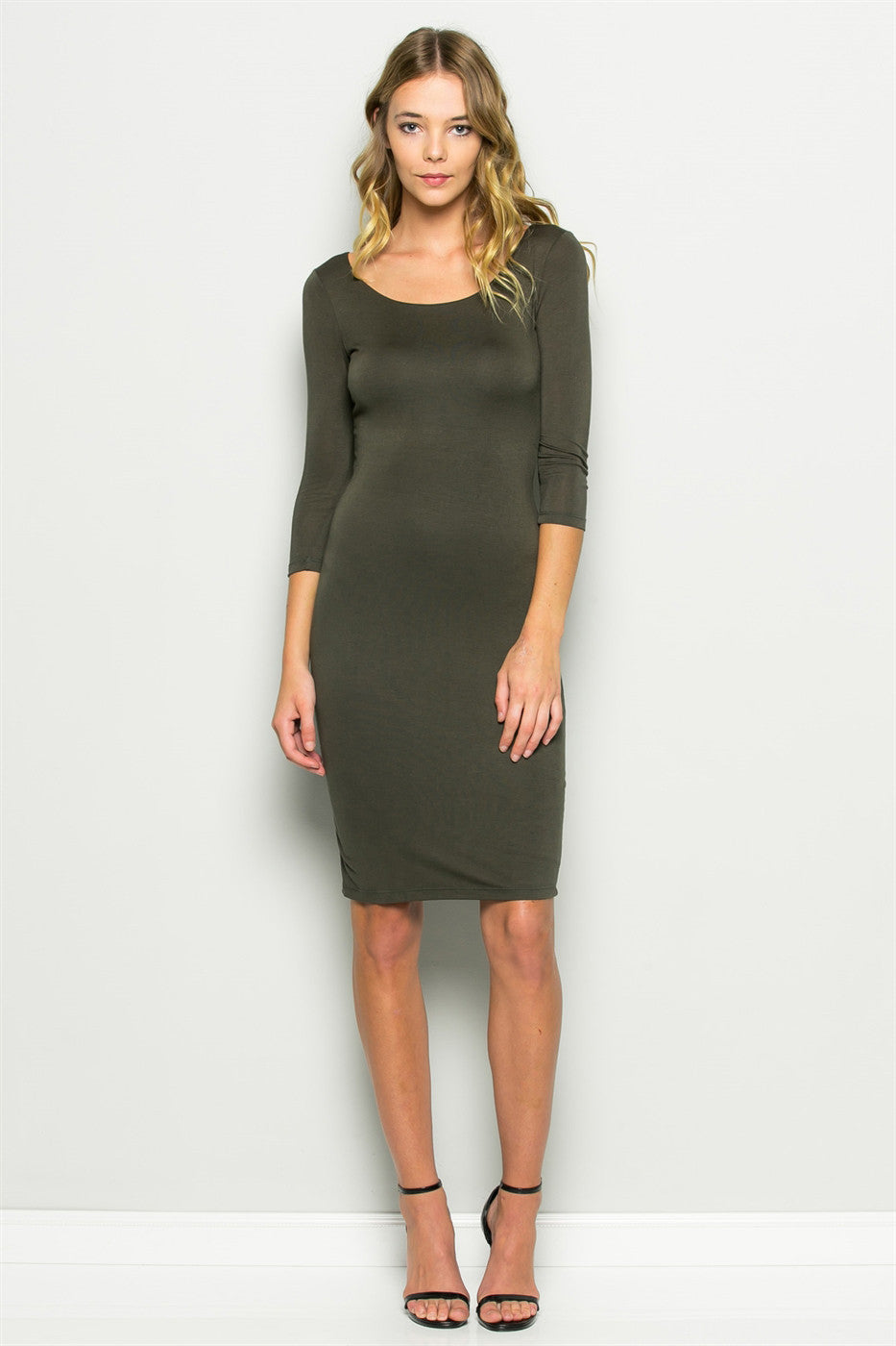 women's casual 3/4 sleeve scoop neck bodycon midi jersey dress. Olive green. Front view