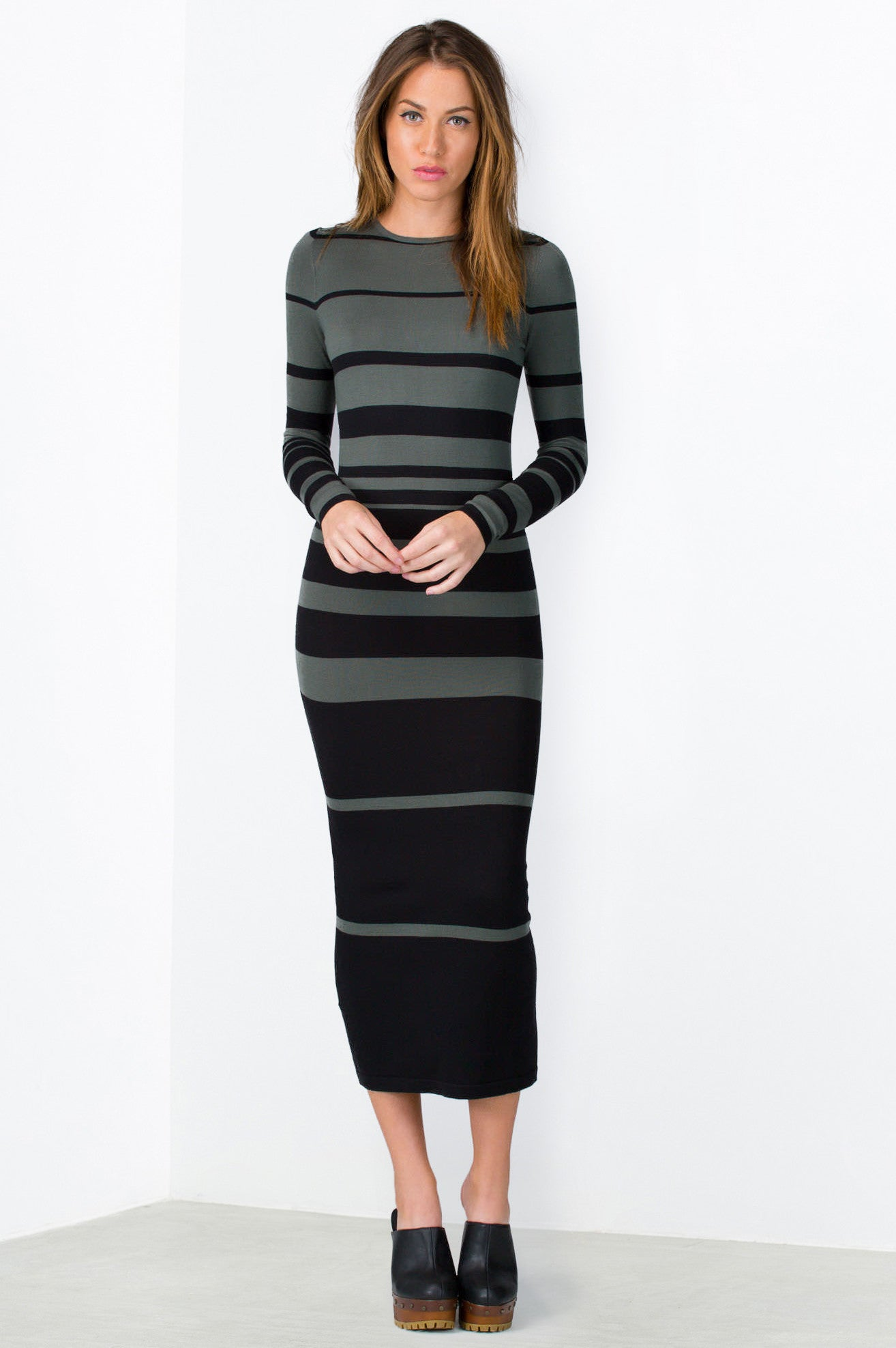 Black zara maxi dress long sleeve