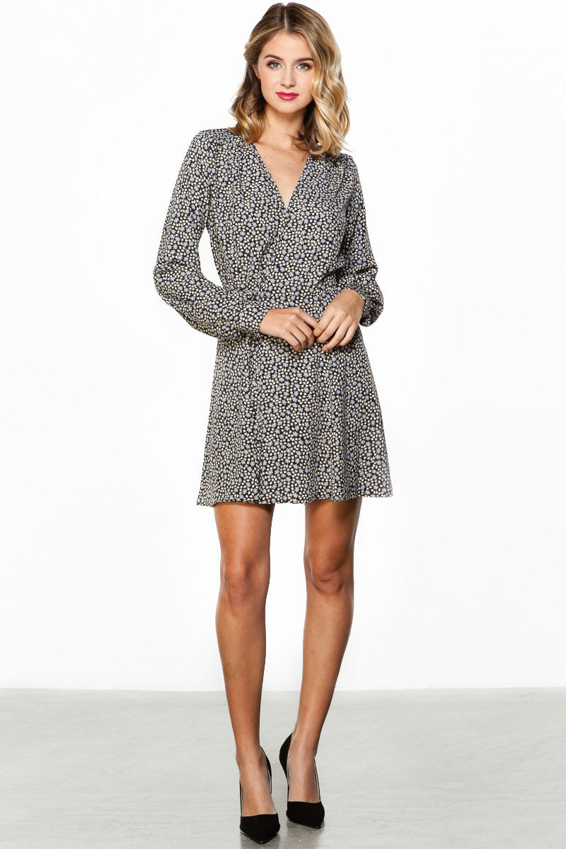 Black daisy print mini long sleeve freya wrap dress, front view