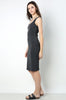 Womens casual street style sleeveless bodycon jersey tank dress - charcoal grey. Front view