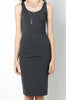 Womens casual street style sleeveless bodycon jersey tank dress - charcoal grey. Back view
