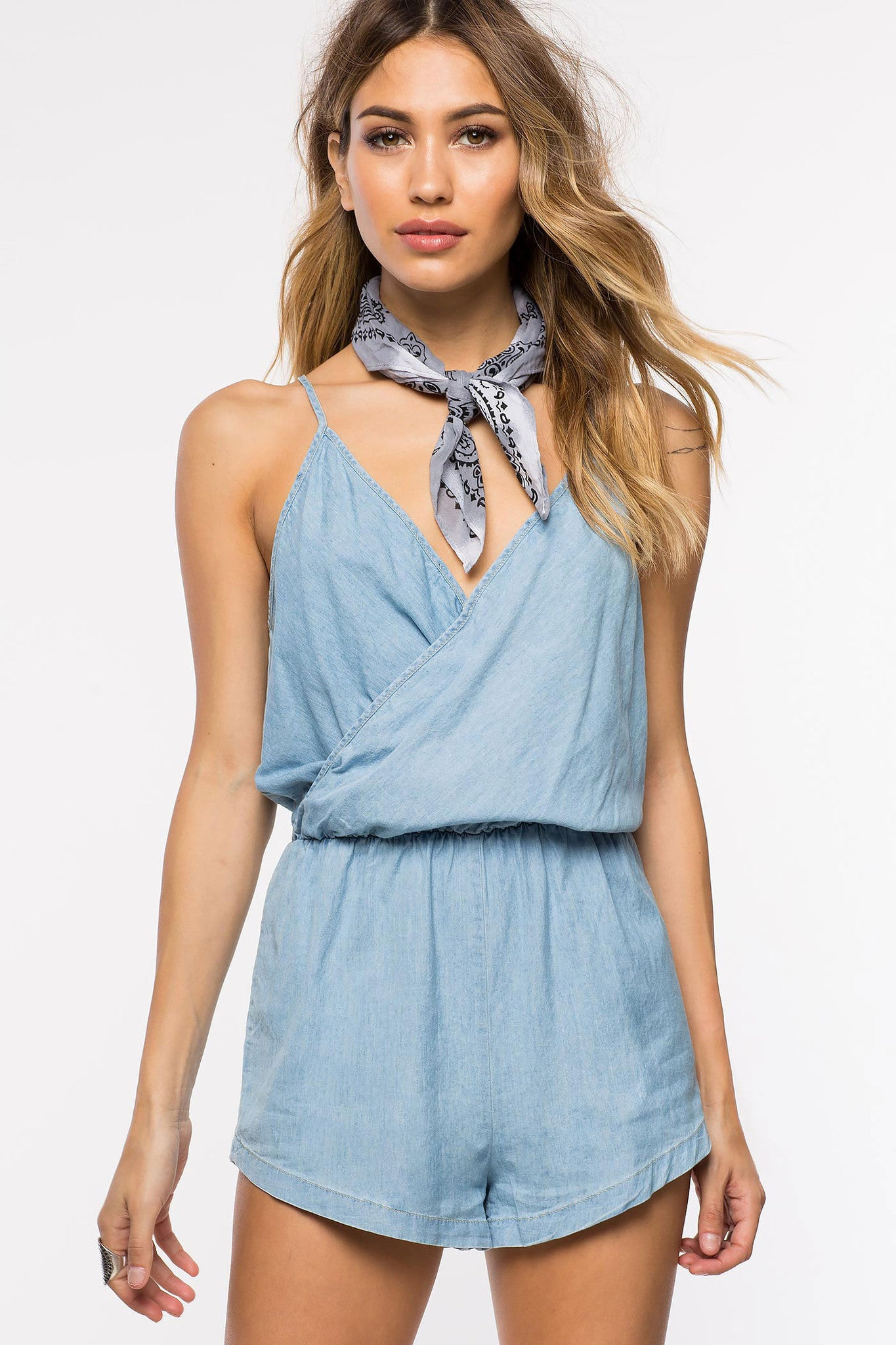 Womens Casual Street Style Outfit: Tencel Denim Sleeveless Surplice Chambray Romper. Front view