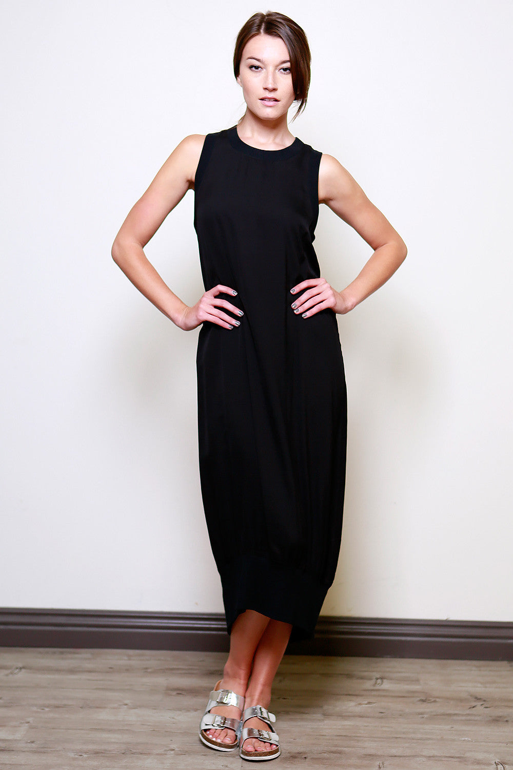 Gypsies-Sleeveless-Oversized-Casual-Maxi-Dress-Raquel-Allegra-Kaftan-Dres-Zara-Long-Dress-Rachel-Pally-Maxi-Dress-Shopbop-topshop-nordstrom-miss-selfridge-house-of-frasier-whistles-black-front view