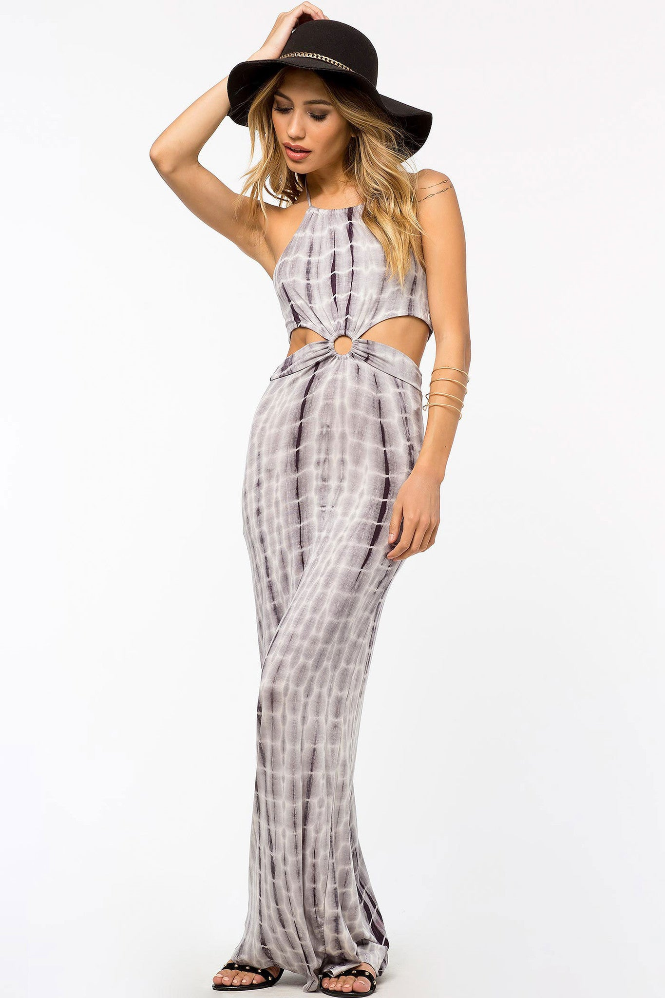 Womens Bohemian Casual Street Style Outfit Sleeveless Cutout Tie-Dye Maxi dress. Front View.
