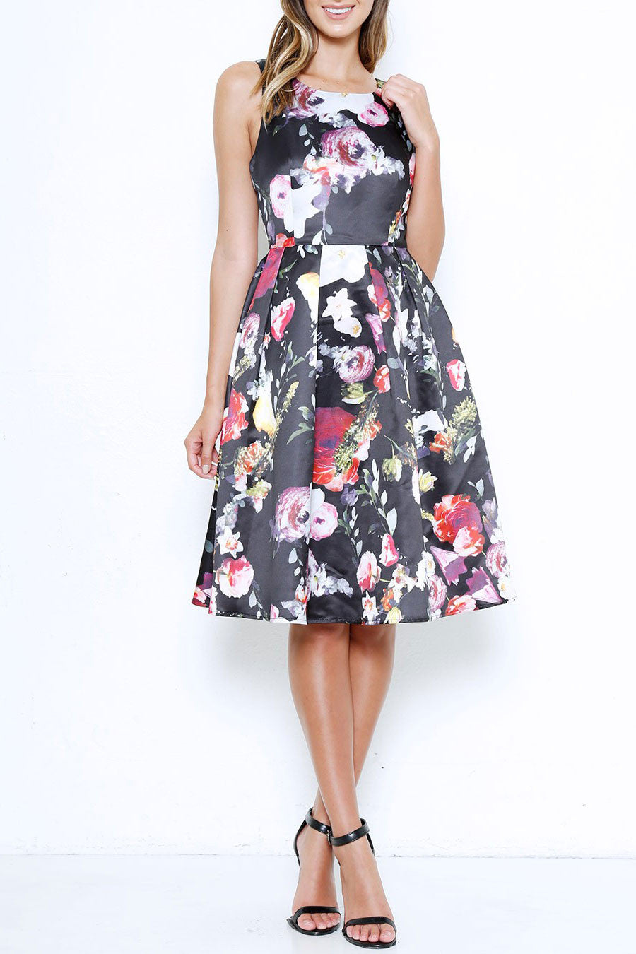 Memdalet women 39 s sleeveless black floral print full for Black floral dress to a wedding