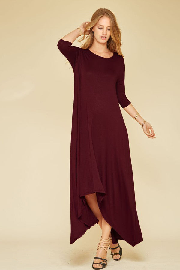 women's casual 3/4 sleeve oversized loose jersey maxi dress in burgundy wine. Front view.