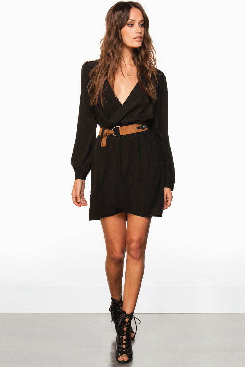 Black long Sleeve, v-neck, mini, wrap dress. Front view
