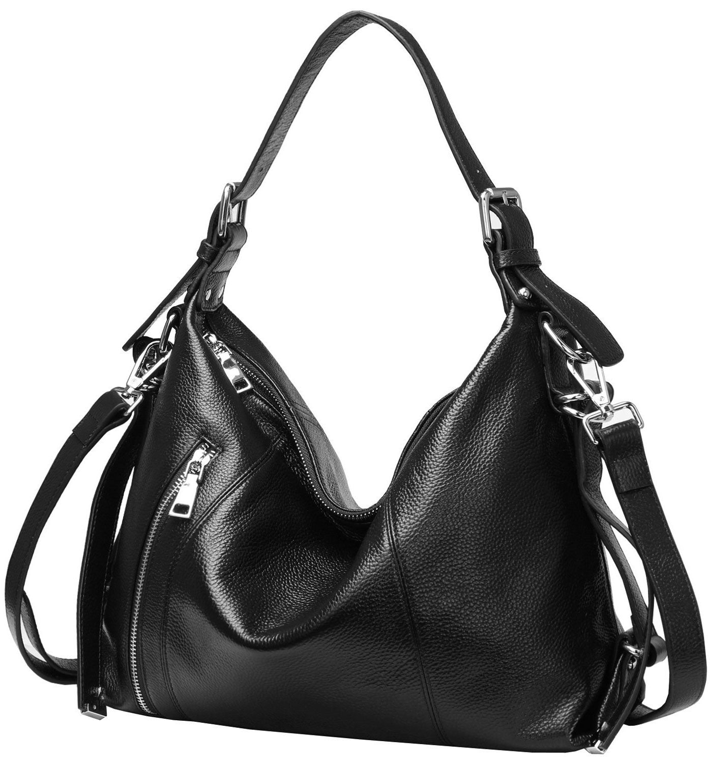Women's leather crossbody bags with over the shoulder top handle. Black