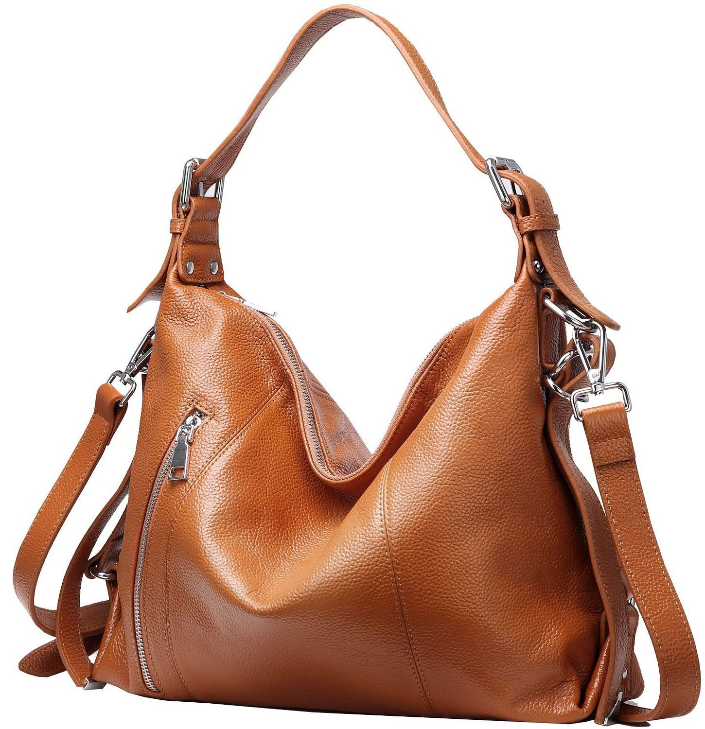 Women's leather crossbody bags with over the shoulder top handle. Light brown