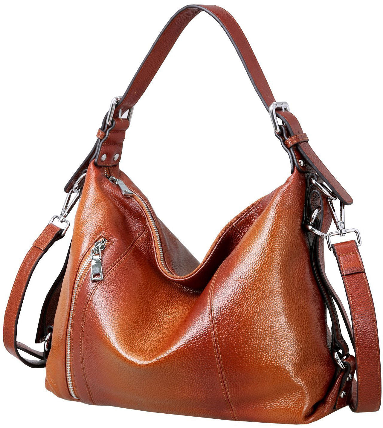 Women's leather crossbody bags with over the shoulder top handle. Burnt brown